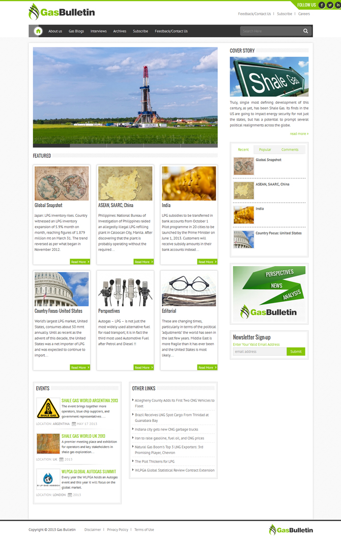 Gas Bulletin Magazine Website Design