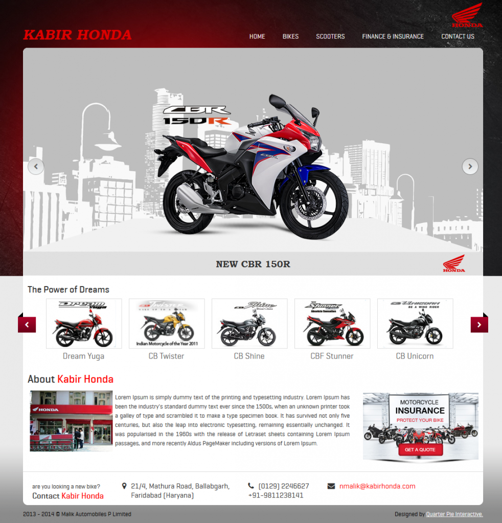 Honda Two Wheelers Showroom Website In Faridabad